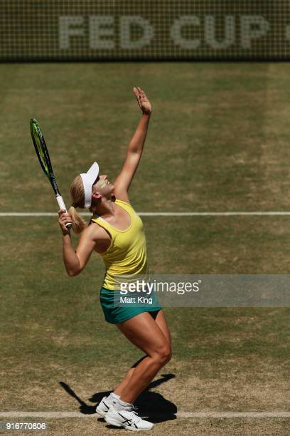 Daria Gavrilova of Australia serves in her singles match against Nadiia Kichenok of Ukraine during the Fed Cup tie between Australia and the Ukraine...