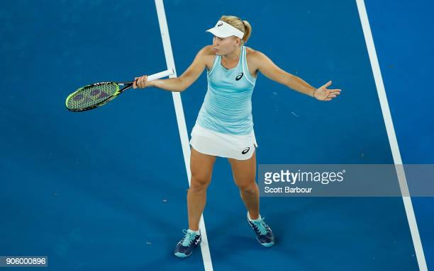 Daria Gavrilova of Australia speaks to the chair umpire in her second round match against Elise Mertens of Belgium on day three of the 2018...
