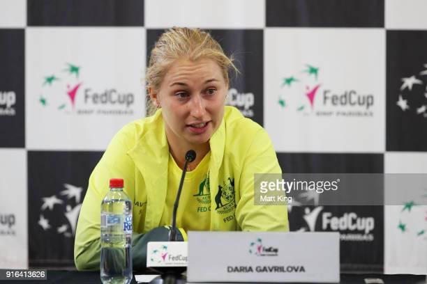 Daria Gavrilova of Australia speaks to the media after her singles match against Marta Kostyuk of Ukraine during the Fed Cup tie between Australia...