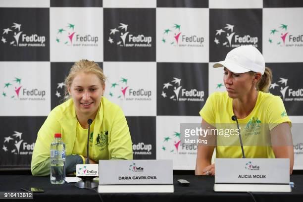 Daria Gavrilova of Australia speaks to the media as Australia captain Alicia Molik looks on after her singles match against Marta Kostyuk of Ukraine...
