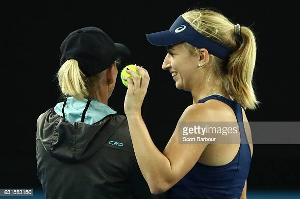 Daria Gavrilova of Australia speaks with her coach Nicole Pratt during a practice session ahead of the 2017 Australian Open at Melbourne Park on...