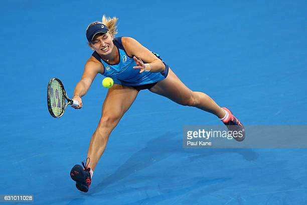 Daria Gavrilova of Australia stretches to plays a forehand against Coco Vandeweghe of the United States during the women's singles match on day five...