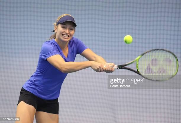 Daria Gavrilova plays a backhand during a training session ahead of next Monday's Newcombe Medal at Melbourne Park on November 23 2017 in Melbourne...