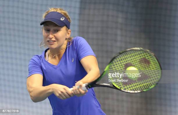 Daria Gavrilova plays a shot during a training session ahead of next Monday's Newcombe Medal at Melbourne Park on November 23 2017 in Melbourne...