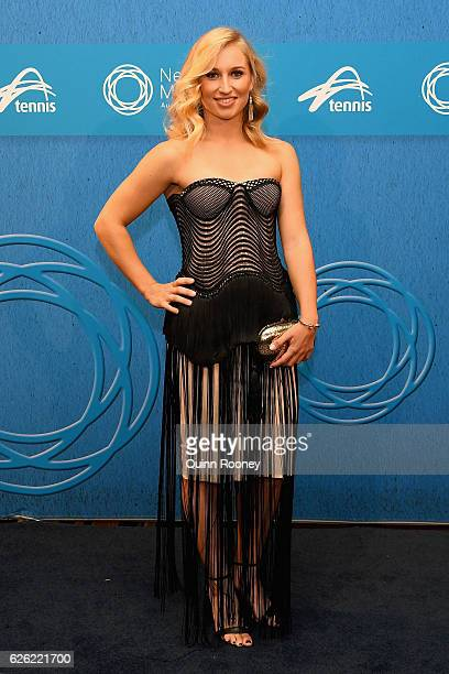 Daria Gavrilova poses as she arrives ahead of the 2016 Newcombe Medal at Crown Palladium on November 28 2016 in Melbourne Australia