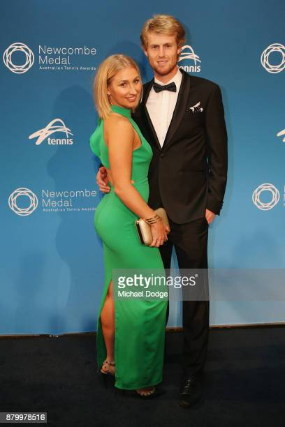 Daria Gavrilova poses with Luke Saville at the 2017 Newcombe Medal at Crown Palladium on November 27 2017 in Melbourne Australia