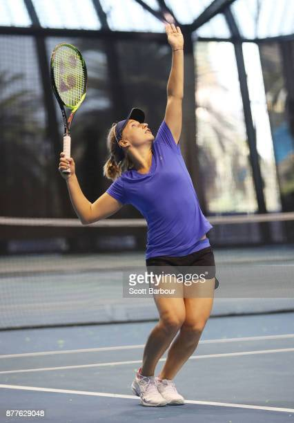 Daria Gavrilova serves during a training session ahead of next Monday's Newcombe Medal at Melbourne Park on November 23 2017 in Melbourne Australia