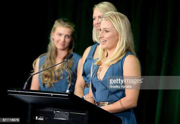 Daria Gavrilova speaks during the Fed Cup Official Dinner on April 14 2016 in Brisbane Australia