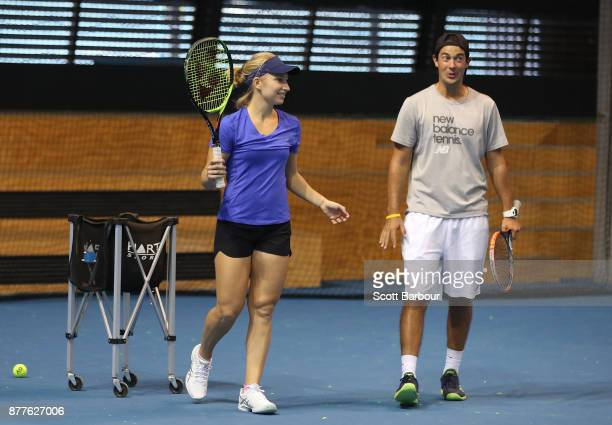 Daria Gavrilova talks with her hitting partner Jarryd Maher during a training session ahead of next Monday's Newcombe Medal at Melbourne Park on...