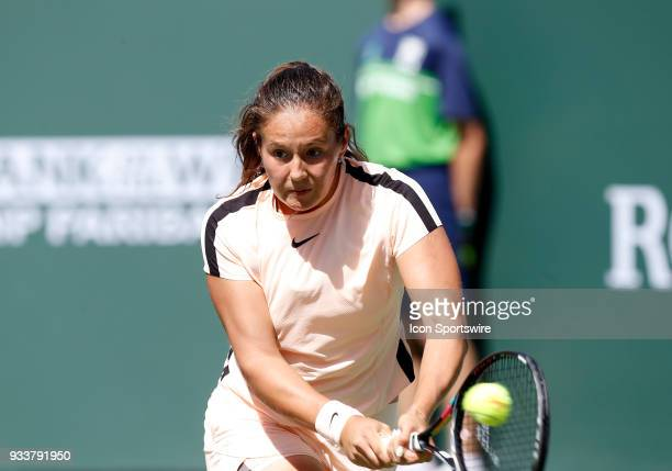 Daria Kasatkina hits a backhand during the finals of the BNP Paribas Open on March 18 at the Indian Wells Tennis Gardens in Indian Wells CA