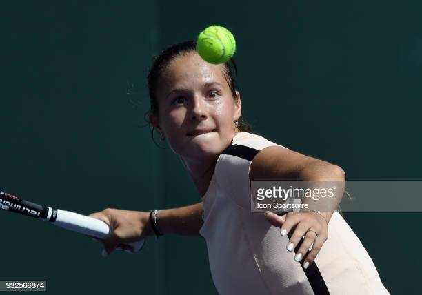 Daria Kasatkina hits a ball in the stands after defeating Angelique Kerber in a quarterfinals match played during the BNP Paribas Open on March 15...