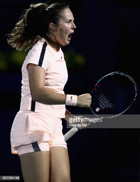 Daria Kasatkina of Russia celebrates a point against Johanna Konta of Great Britain during day three of the WTA Dubai Duty Free Tennis Championship...