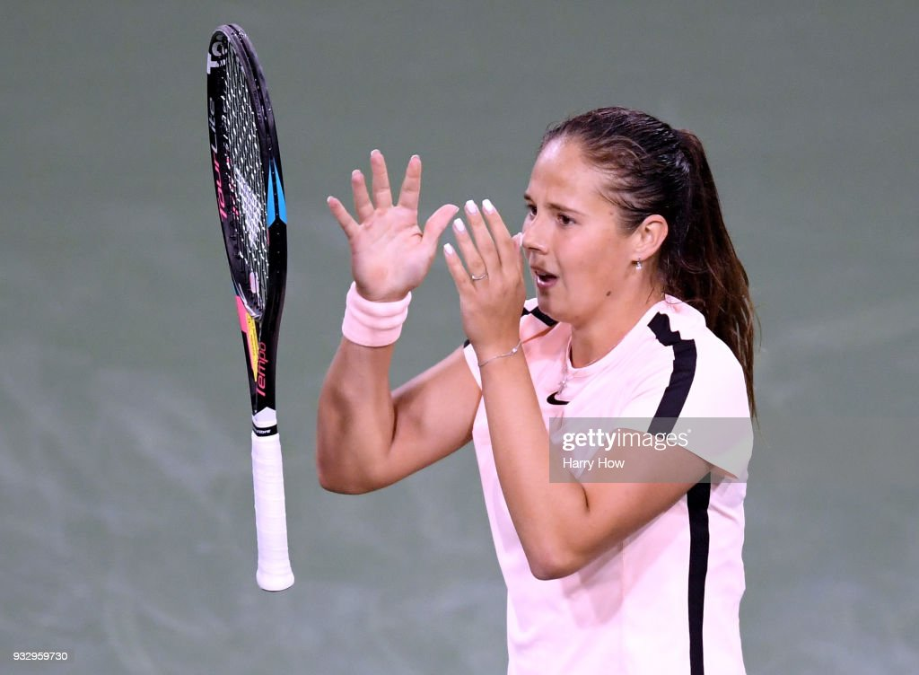 Daria Kasatkina of Russia celebrates a quarterfinal victry over Venus Williams of the United States during the BNP Paribas Open at the Indian Wells Tennis Garden on March 16, 2018 in Indian Wells, California.