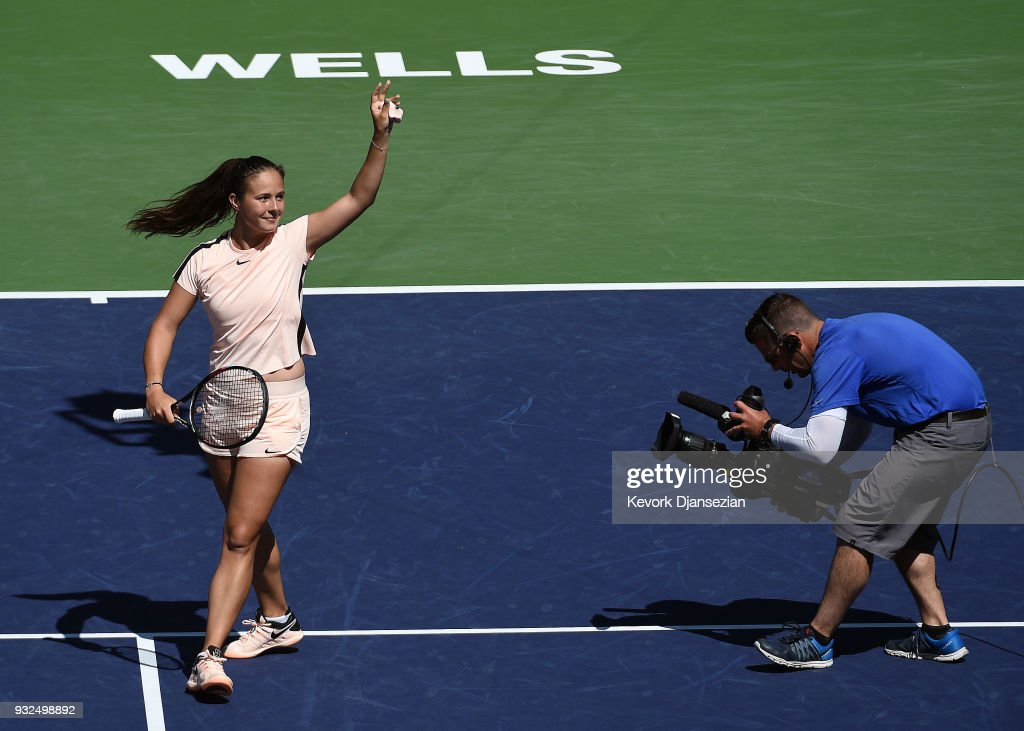 Daria Kasatkina of Russia celebrates after defeating Angelique Kerber of Germany during Day 9 of BNP Paribas Open on March 15, 2018 in Indian Wells, California.