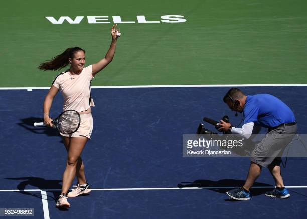 Daria Kasatkina of Russia celebrates after defeating Angelique Kerber of Germany during Day 9 of BNP Paribas Open on March 15 2018 in Indian Wells...