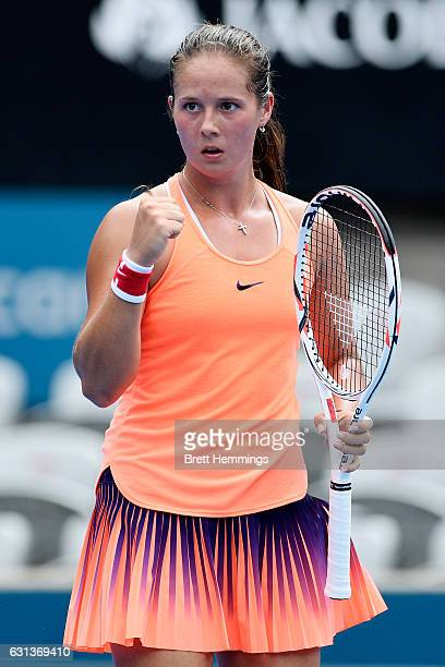 Daria Kasatkina of Russia celebrates after winning a point in second round match against Angelique Kerber of Germany during day three of the 2017...