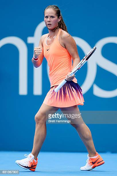 Daria Kasatkina of Russia celebrates after winning the first set in her second round match against Angelique Kerber of Germany during day three of...