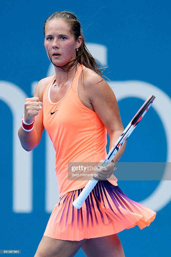 Daria Kasatkina of Russia celebrates after winning the first set in her second round match against Angelique Kerber of Germany during day three of the 2017 Sydney International at Sydney Olympic Park Tennis Centre on January 10, 2017 in Sydney, Australia.