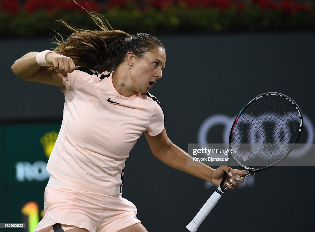 Daria Kasatkina of Russia celebrates after winning the second set of her semifinals match against Venus Williams of United States during Day 12 of BNP Paribas Open on March 16, 2018 in Indian Wells, California.