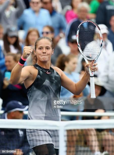 Daria Kasatkina of Russia celebrates defeating Jelena Ostapenko of Latvia during their third round Women's Singles match on Day Six of the 2017 US...