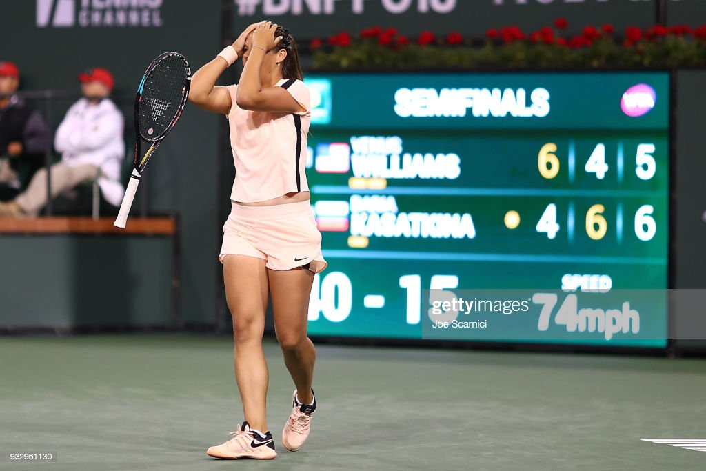 Daria Kasatkina of Russia celebrates match point against Venus Williams of the United States at the BNP Paribas Open - Day 12 on March 16, 2018 in Indian Wells, California.