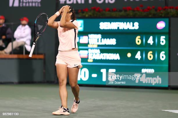 Daria Kasatkina of Russia celebrates match point against Venus Williams of the United States at the BNP Paribas Open Day 12 on March 16 2018 in...