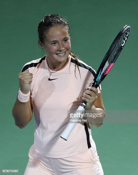 Daria Kasatkina of Russia celebrates victory after her quarter final match against Elena Vesnina of Russia on day four of the WTA Dubai Duty Free...
