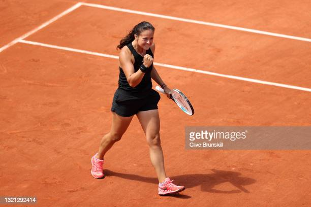 Daria Kasatkina of Russia celebrates winning match point during her women's second round match against Belinda Bencic of Switzerland during day four...