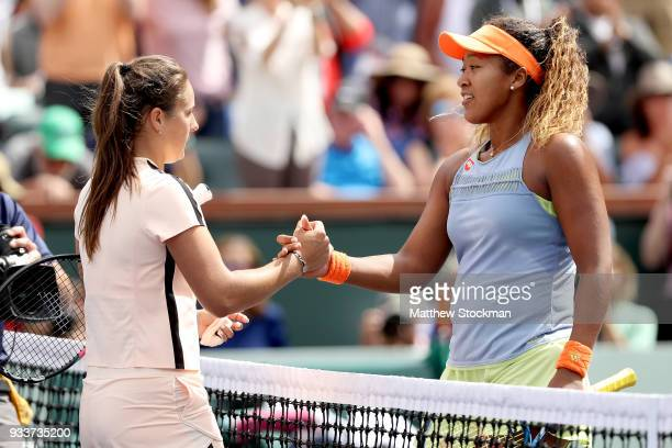Daria Kasatkina of Russia congratulates Naomi Osaka of Japan after their match during the women's final on Day 14 of the BNP Paribas Open at the...