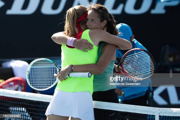 Daria Kasatkina of Russia hugs opponent Marie Bouzkova of Czeck Republic during the WTA 250 Phillip Island Trophy Final on February 19, 2021 in...