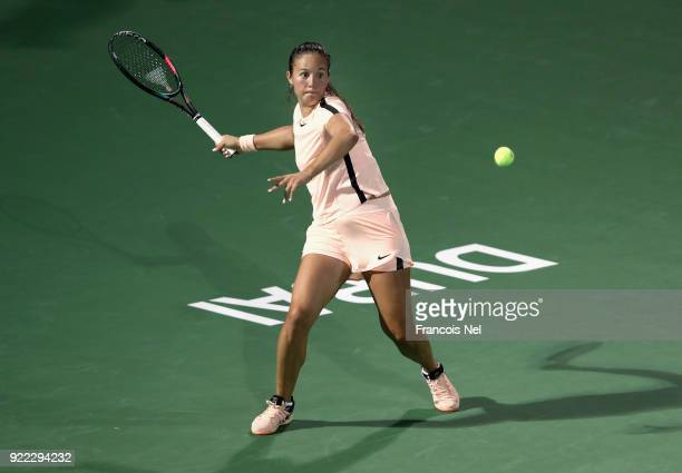 Daria Kasatkina of Russia in action against Johanna Konta of Great Britain during day three of the WTA Dubai Duty Free Tennis Championship at the...