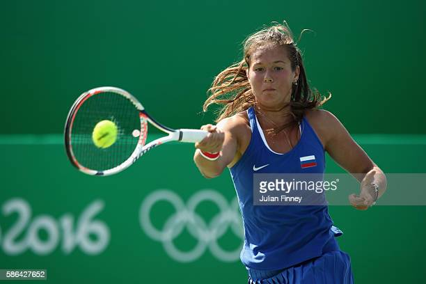 Daria Kasatkina of Russia in action against Ons Jabeur of Tunisia in the women's first round on Day 1 of the Rio 2016 Olympic Games at the Olympic...