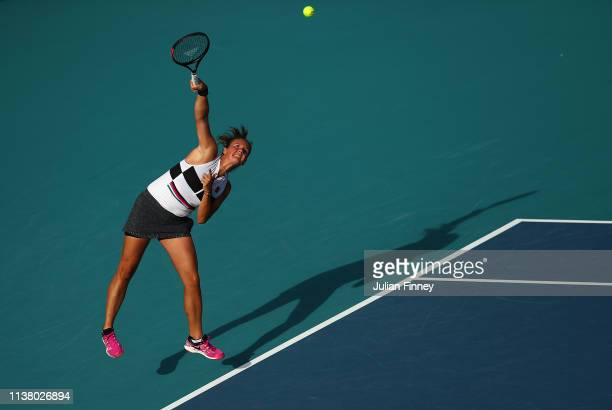 Daria Kasatkina of Russia in action against Venus Willaims of USA during day seven at the Miami Open Tennis on March 24, 2019 in Miami Gardens,...