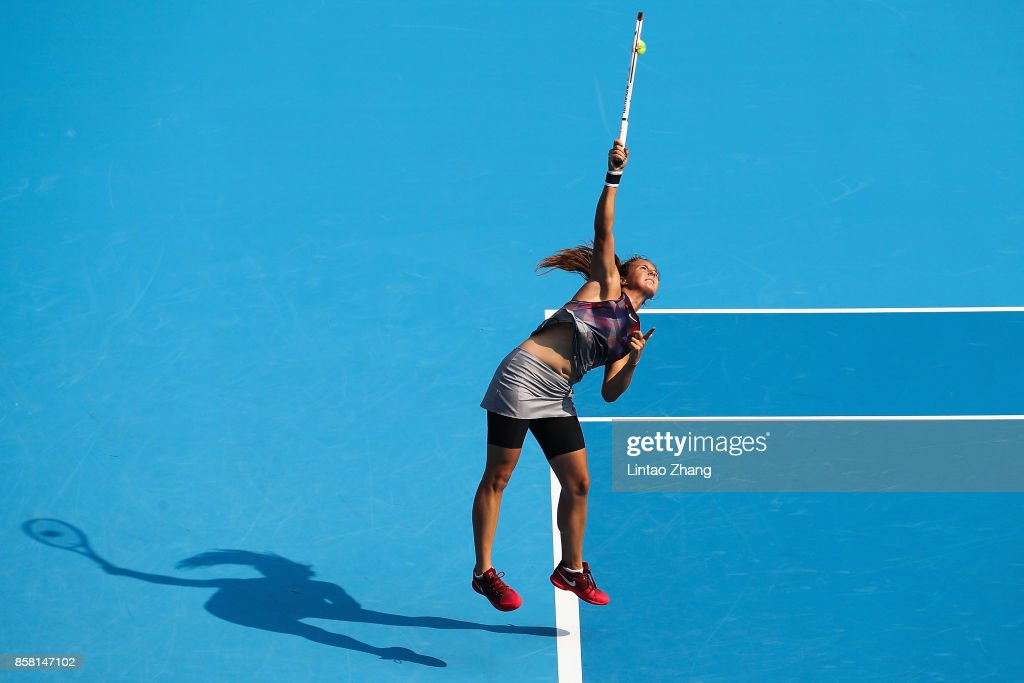 Daria Kasatkina of Russia in action during the Women's singles Quarterfinals match against Simona Halep of Romania on day seven of 2017 China Open at the China National Tennis Centre on October 6, 2017 in Beijing, China.