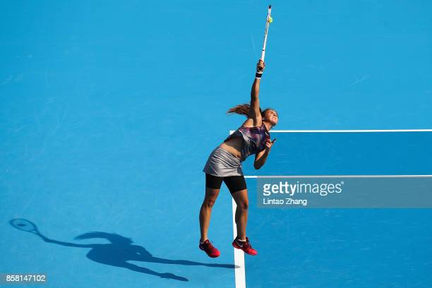 Daria Kasatkina of Russia in action during the Women's singles Quarterfinals match against Simona Halep of Romania on day seven of 2017 China Open at...
