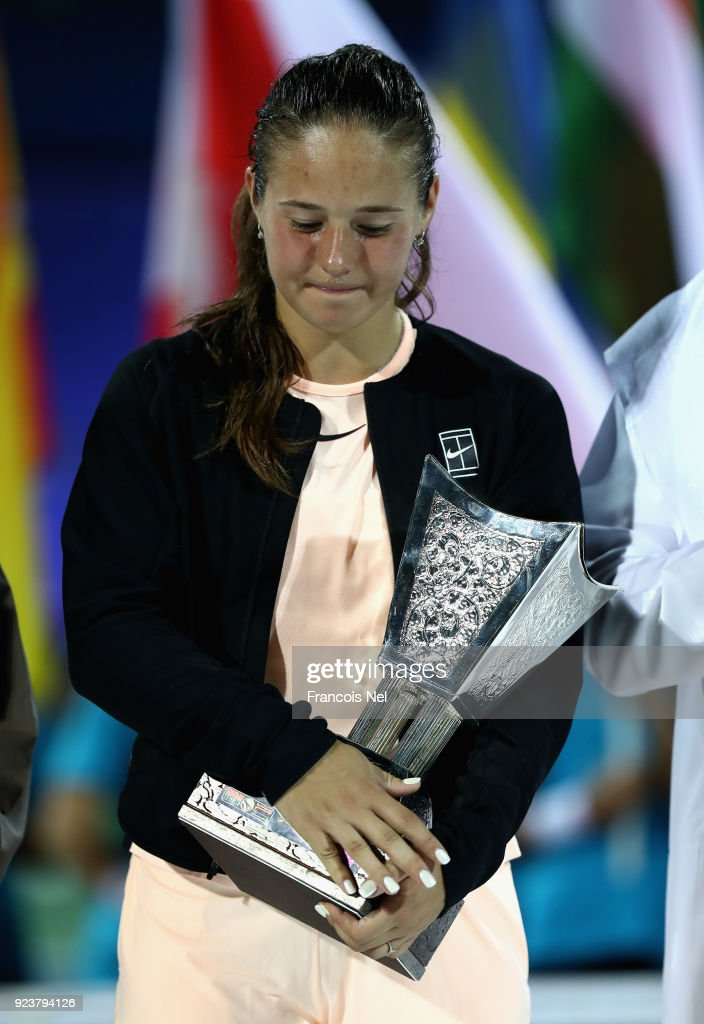 Daria Kasatkina of Russia looks dejected holding the runner-up trophy after the Women's Singles Final match during day six of the of the WTA Dubai Duty Free Tennis Championship at the Dubai Duty Free Stadium on February 24, 2018 in Dubai, United Arab Emirates.