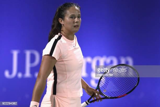 Daria Kasatkina of Russia looks on against Johanna Konta of Great Britain during day three of the WTA Dubai Duty Free Tennis Championship at the...