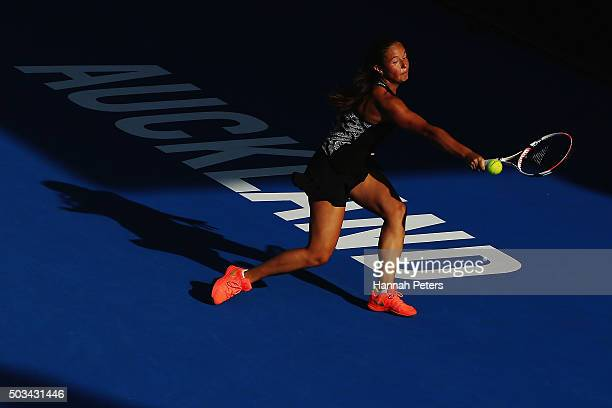 Daria Kasatkina of Russia plays a backhand during her first round match against Venus Williams of USA during day two of the 2016 ASB Classic at the...