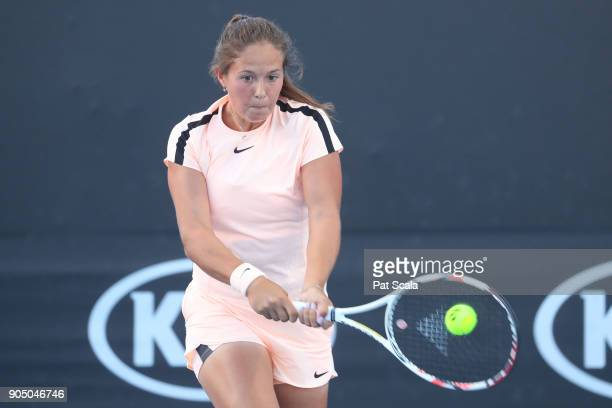 Daria Kasatkina of Russia plays a backhand in her first round match against Anna Karolina Schmiedlova of Slovakia on day one of the 2018 Australian...