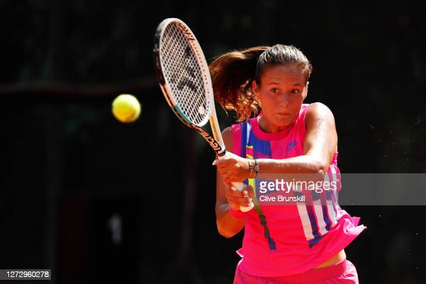 Daria Kasatkina of Russia plays a backhand in her round two match against Katerina Siniakova of The Czech Republic during day four of the...