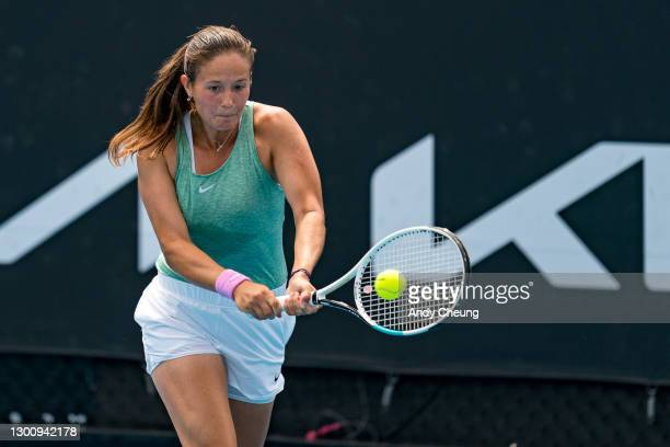Daria Kasatkina of Russia plays a backhand in her Women's Singles first round match against Katie Boulter of Great Britain during day one of the 2021...
