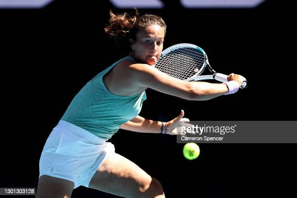 Daria Kasatkina of Russia plays a backhand in her Women's Singles second round match against Aryna Sabalenka of Belarus during day three of the 2021...