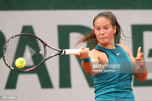 Daria Kasatkina of Russia plays a forehand during her ladies singles third round match against Maria Sakkari of Greece during day six of the 2018...