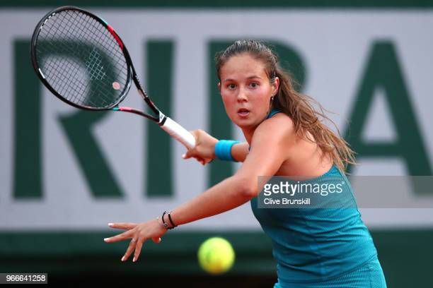 Daria Kasatkina of Russia plays a forehand during the ladies singles fourth round match against Caroline Wozniacki of Denmark during day eight of the...