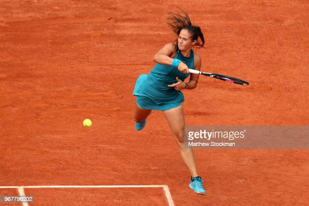 Daria Kasatkina of Russia plays a forehand during the ladies singles quarter finals match against Sloane Stephens of The United States during day ten...