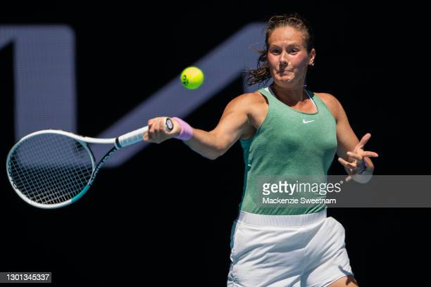 Daria Kasatkina of Russia plays a forehand in her Women's Singles second round match against Aryna Sabalenka of Belarus during day three of the 2021...