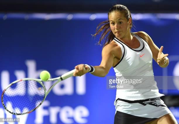Daria Kasatkina of Russia plays forehand during her match against Caroline Wozniacki of Denmark on day two of the WTA Dubai Duty Free Tennis...