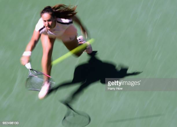 Daria Kasatkina of Russia reaches for a baclhand in her match against Angelique Kerber of Germany during the BNP Paribas Open at the Indian Wells...