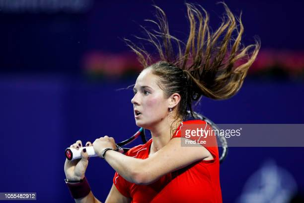 Daria Kasatkina of Russia reacts against Qiang Wang of China during a match on day 1 of 2018 WTA Elite Trophy Zhuhai at Hengqin Tennis Center on...