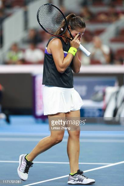 Daria Kasatkina of Russia reacts during the Women's Singles first round match against Peng Shuai of China during the 2019 China Open at the China...